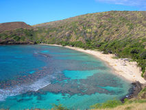 Hanauma Bay, Hawaii. Hanauma Bay nature preserve, Honolulu, Hawaii provides an exciting place to snorkel and dive on a coral reef royalty free stock photo