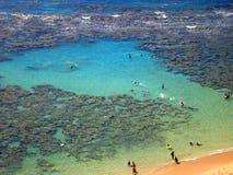 Hanauma Bay, Oahu, Hawaii. Snorkelers and Families swimming around the coral at Hanauma Bay, Oahu, Hawaii Stock Photography