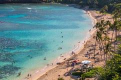 Hanauma fjärd, Oahu, Hawaii Fotografering för Bildbyråer