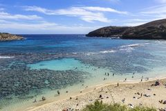Hanaumabaai, ahu van O `, Hawaï royalty-vrije stock foto's