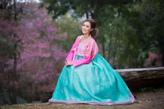 Hanbok: de traditionele Koreaanse kleding en mooie Aziatische meisjeswi Royalty-vrije Stock Afbeelding