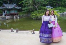 Hanbok koreanska traditionella kläder Arkivfoton