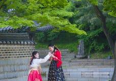 Hanbok koreanska traditionella kläder Fotografering för Bildbyråer