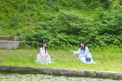 Hanbok koreanska traditionella kläder Arkivbilder