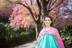 Hanbok: the traditional Korean dress and beautiful Asian girl. With sakura Stock Image