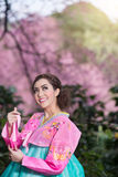 Hanbok: the traditional Korean dress and beautiful Asian girl wi. Th sakura Royalty Free Stock Photos
