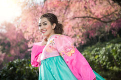 Hanbok: the traditional Korean dress and beautiful Asian girl wi. Th sakura Royalty Free Stock Image