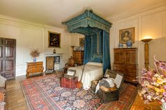 Hanbury的霍尔,渥斯特夏蓝色卧室 免版税图库摄影