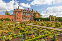 Hanbury Hall Walled Garden, Worcestershire, England. The beautiful Great Walled Garden or Sunken Parterre at Hanbury Hall Royalty Free Stock Image