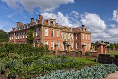 Hanbury Hall, Worcestershire, England. The the magnificent Hanbury Hall as seen from the formal vegetable garden Stock Image