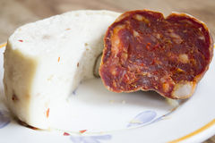 Hancraft primosale cheese and soppressata Royalty Free Stock Photos