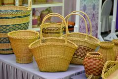 Hancrafted Basketry. Basket weaving also basketry or basket making is the process of weaving or sewing pliable materials into two- or threedimensional artefacts stock photo