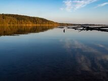 Free Hancza Lake, The Deepest Lake Of The Poland. Sunny Day, Late Afternoon, Sky Reflecting In The Water. Stock Photos - 182744453