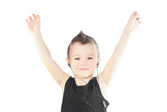 Hand's up. Beautiful small boy with his hands raised up Royalty Free Stock Images