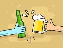 Handölexponeringsglas och flaska och att rosta lyckliga vänner som hurrar folk vektor illustrationer
