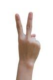 Hand öffnet sich mit zwei Fingern, die auf weißem Hintergrund lokalisiert werden Über Weiß Lizenzfreies Stockbild