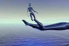 hand över havskvinna stock illustrationer