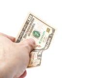 Hand över 10 US dollar Royaltyfri Fotografi