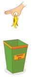 Hand über trashbin Stockbilder