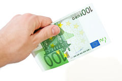 Hand with 100 Euro. Hand holding 100 euro on isolated white background Stock Image