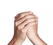 Hand. S clasped in a prayer Royalty Free Stock Photos
