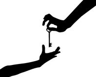 Hand. The illustration of a silhouette of a hand which holds a key Royalty Free Stock Photography