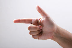 Hand. Depicting showing, pointing , gun Royalty Free Stock Image