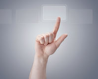 Hand. Finger pushing button. modern computer screen Stock Image