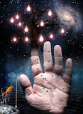 Hand. With tree of lights and pull switch Royalty Free Stock Photo
