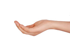 Hand. Woman holding out cupped hand asking for something Royalty Free Stock Photo