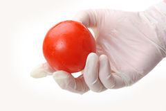 The hand. Is holding a red ball Royalty Free Stock Photo