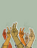 Hand. S up showing victory or peace sign Royalty Free Stock Photo