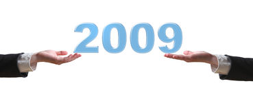 Hand and 2009 - business concept. (isolated on white background royalty free stock photography