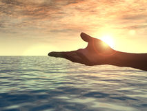 Hand. Open hand in the sunset - 3d illustration Stock Photography