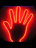Hand. Neon light of a hand Royalty Free Stock Image
