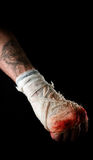 Hand. Of the boxer in bandage with blood Royalty Free Stock Photos