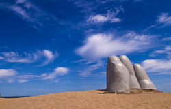 The hand. A famous sculpture in Punta del este Uruguay Royalty Free Stock Image