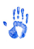 Hand. Blue print of hand isolated on the white Stock Photo