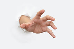 Hand. A hand out from white paper for grabbing Stock Images