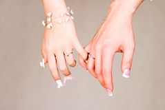 Hand. In  with Beauty nail Royalty Free Stock Image