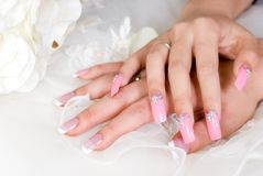 Hand. In  with Beauty nail Royalty Free Stock Photo