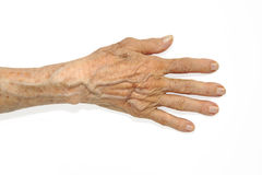 A hand. One heavily lined elderly woman hand Stock Photo