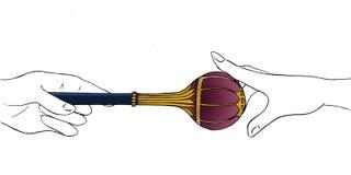 Hand - aangeboden gouden scepter aan de andere aanraking van het handbereik het Bijbelverhalen van Esther; Koning tevreden met ha stock illustratie