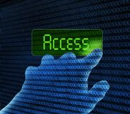 Hand and access button Royalty Free Stock Photos