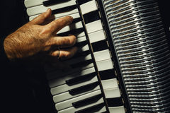 Hand on Accordion While Playing Stock Images