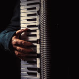Hand on Accordion While Playing royalty free stock photography