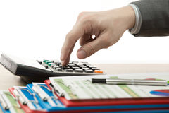 Hand with accounting business. Stock Image
