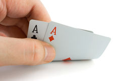 Hand and aces Stock Photography