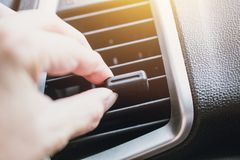 Hand adjust car air way vent cooling air flow Royalty Free Stock Images