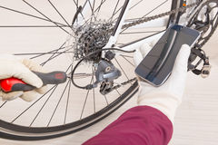 Hand adjusting rear derailleur Stock Image
